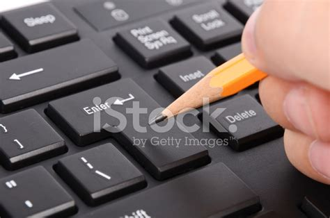 Computer Keyboard And Pencil Stock Photos