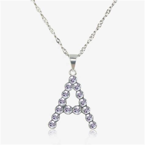 Sterling Silver 'A' Initial Necklace Made With Swarovski
