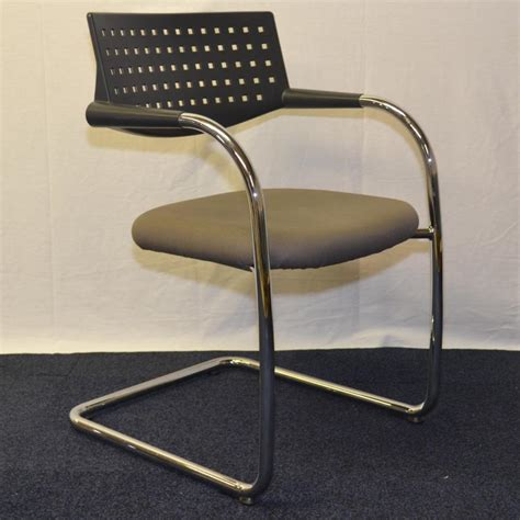 vitra vis a vis silver fabric meeting chair