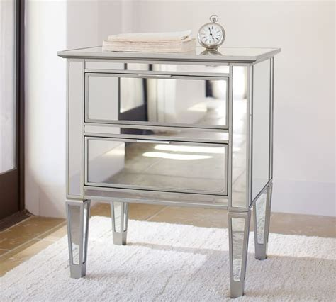 mirrored end tables nightstands park mirrored bedside table chagne finish drawers