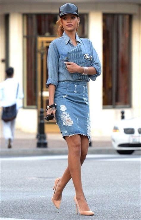 Dress: double denim, shirt, skirt, knee length, ripped