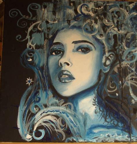 tableau peinture bleu femme portrait femme bleue