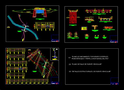 design vehicular bridge  river  autocad cad