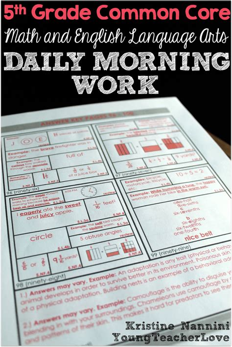 Math And English Language Arts Daily Morning Work Young