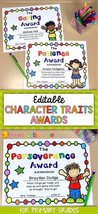 Award End Awards Kindergarten Character Traits Graduation