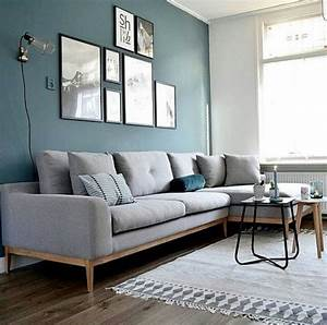 Salon Gris Bleu : d co salon mur bleu canap gris chin applique style baladeuse ~ Melissatoandfro.com Idées de Décoration
