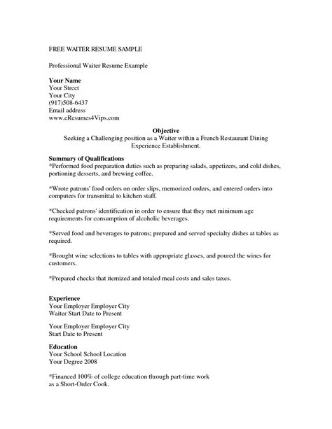 sample waiter resume waiter resume samples resume template 2018