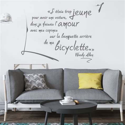 stickers muraux citation woody allen ma bicyclette