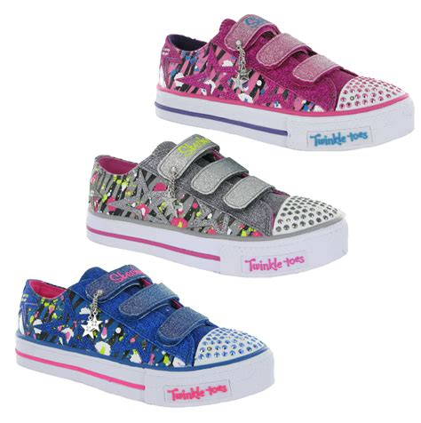 skechers kids light up shoes new older girls kids skechers twinkle toes light up velcro