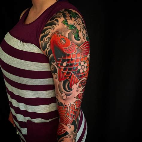 japanese koi fish tattoo  women left  sleeve