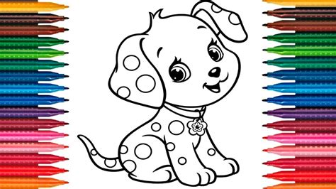 drawing puppy   draw dog colors picture coloring book