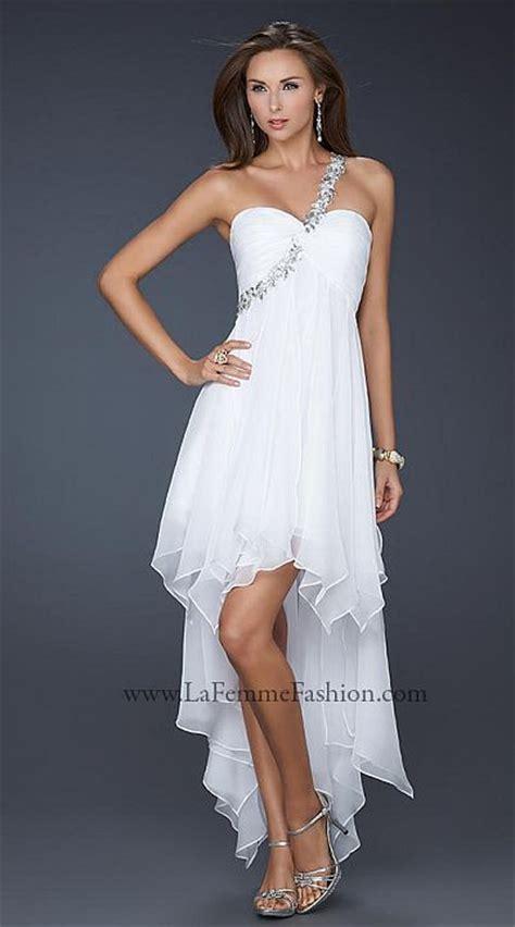 la femme  strap chiffon high  prom dress