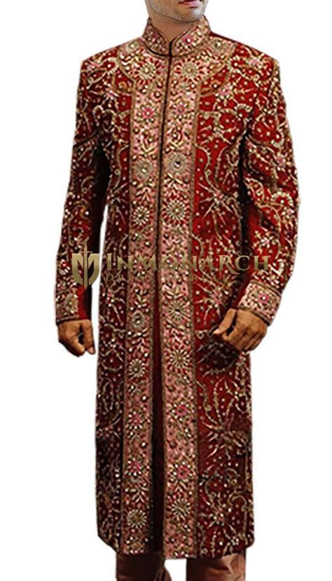 groom sherwani  men wedding maroon dupion sherwani
