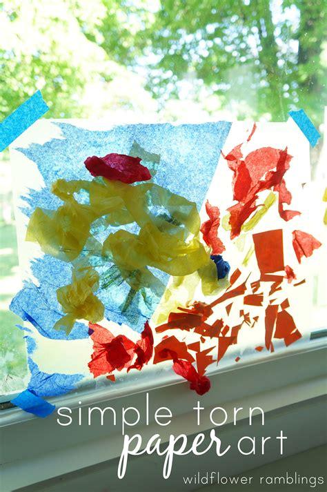 simple torn paper collage wildflower ramblings