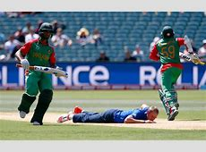 england s bowler stuart broad c falls on the pitch after