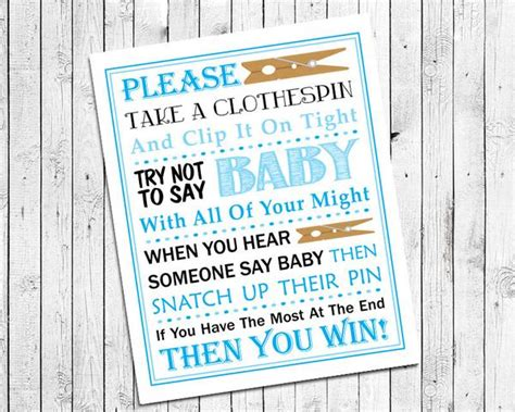 baby shower game blue clothespin game printable instant