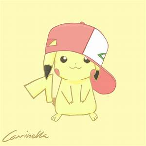 Pikachu - Ash's hat -Colored- by Corrinella on DeviantArt