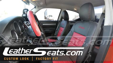 dodge charger custom  tone black red leather seat