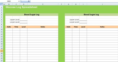 glucose log spreadsheet template excel spreadsheet