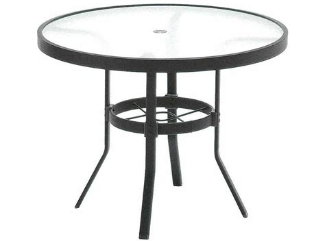 round glass patio table with umbrella hole winston obscure glass aluminum 36 39 39 round kd cafe table