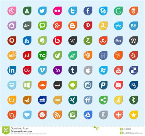 social media and network color flat icons editorial stock