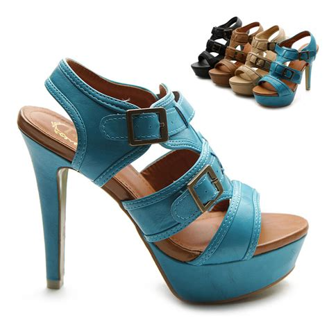 colored heels new womens ankle buckles accent platforms high heels