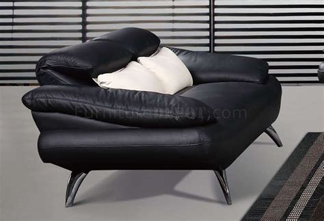 black leather contemporary living room sofa w chrome legs
