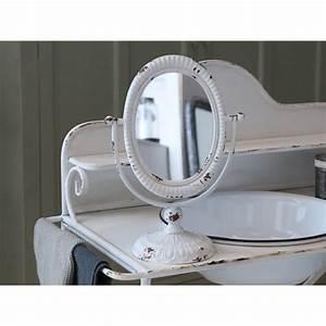 Miroir Sur Pied Blanc : miroir inclinable sur pied blanc antique par chic antique pour une d co shabby chic et romantique ~ Teatrodelosmanantiales.com Idées de Décoration