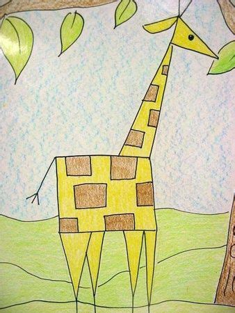Abstract Drawing Using Shapes by Shape Giraffe Kinder Thanksgiving
