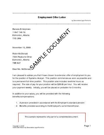 employment offer letter canada legal templates