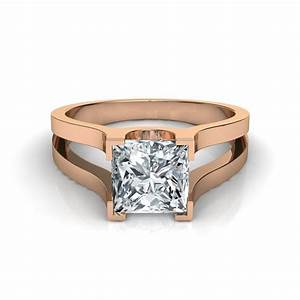 075 carat wide band split shank princess cut solitaire for Princess cut solitaire engagement ring with wedding band
