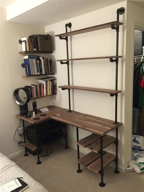 l shaped desk with shelves industrial pipe and walnut l shaped desk with shelves