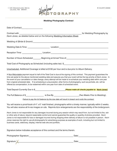 Photography Contract Template Photography Contract Template Tryprodermagenix Org