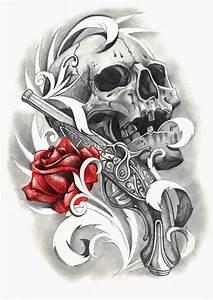 Dessin Tete De Mort Avec Rose : dessin tatouage t te de mort rose et pistolet tatouage pinterest tatouages t te de mort ~ Melissatoandfro.com Idées de Décoration