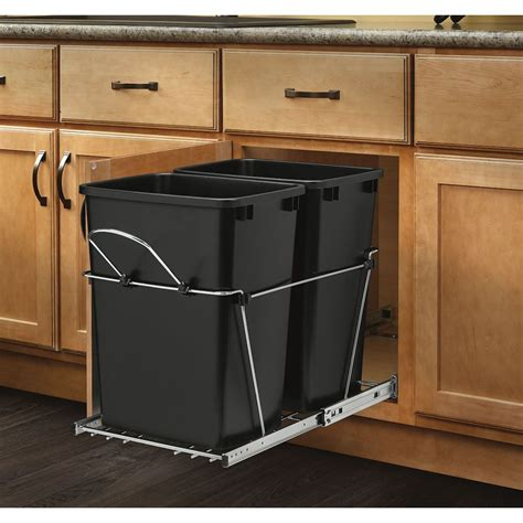 pull out cabinet shelves lowes shop rev a shelf 35 quart plastic pull out trash can at