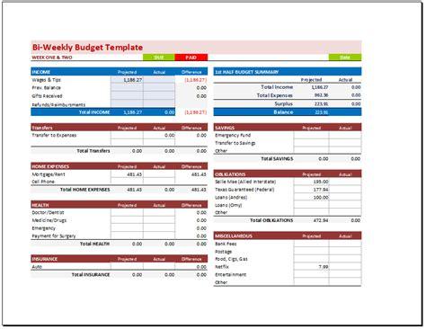 bi weekly budget template bi weekly budget planner template budget templates