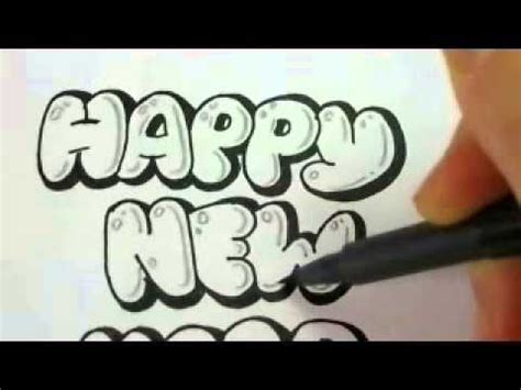 year cards draw bubble letters youtube