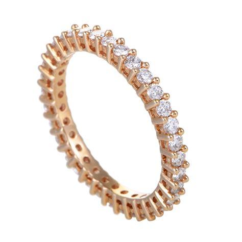 Womens 18k Rose Gold Diamond Eternity Band Ring