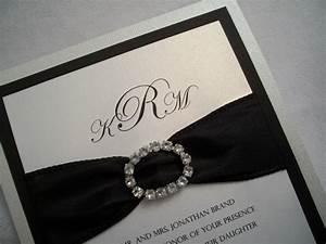 Rhinestone wedding invitation suite black and white for Black and white bling wedding invitations