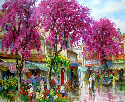 Lam Manh Original Asian Art Flower Market In Spring