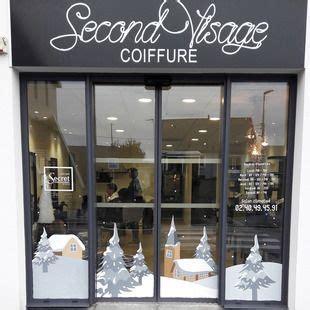 decoration vitrine de noel salon de coiffure  thouare