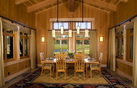 lantern dining room lights dining room craftsman with sloped ceiling exposed beams wood paneling