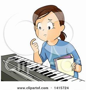 Clipart of a Brunette White Girl Learning How to Play the ...