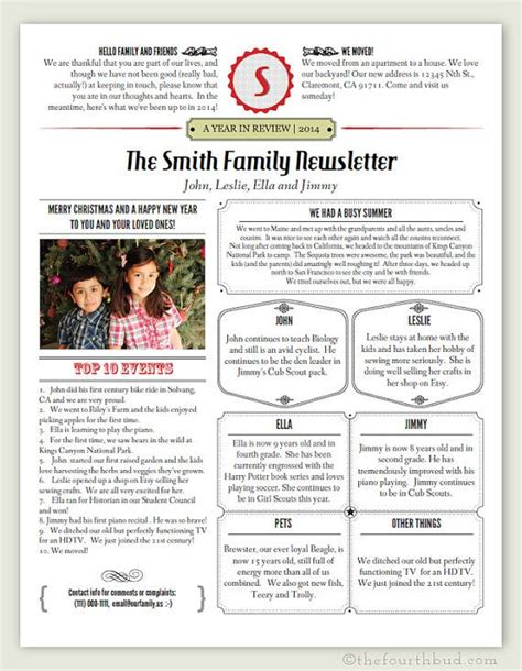 year  review newsletter template    print