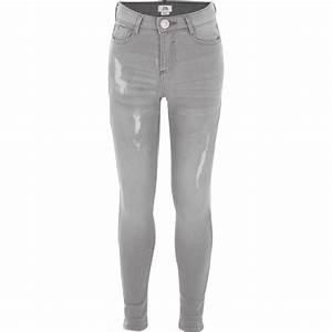 Girls light grey ripped Amelie skinny jeans - Denim - Sale - girls