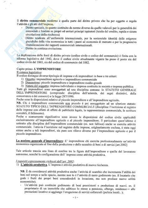 Dispensa Diritto Commerciale by Diritto Commerciale Riassunto Sulla Figura Dell Imprenditore