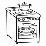 Coloring Stove Cartoon Electric Appliances Children Template sketch template