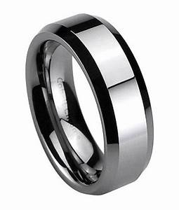 Cobalt chrome wedding band for men polished beveled edges for Cobalt chrome mens wedding rings