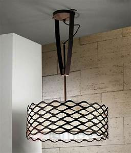 Height adjustable ceiling light with woven shade and
