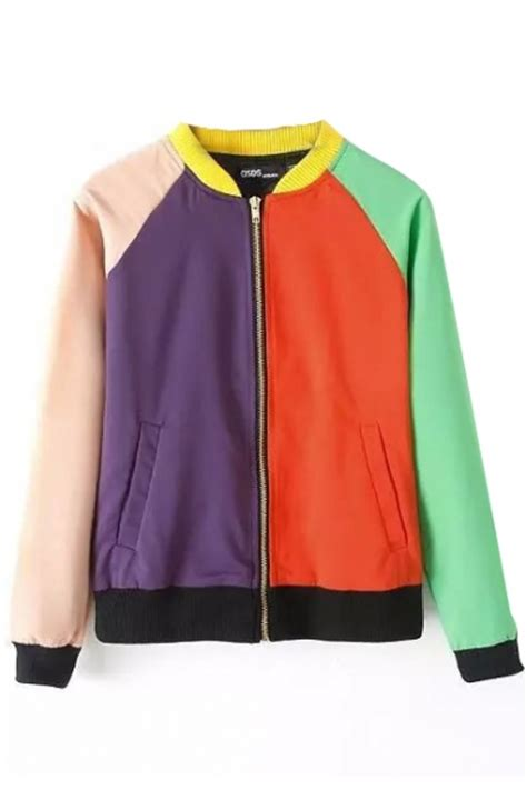 color block stand collar zipper double pocket long sleeve